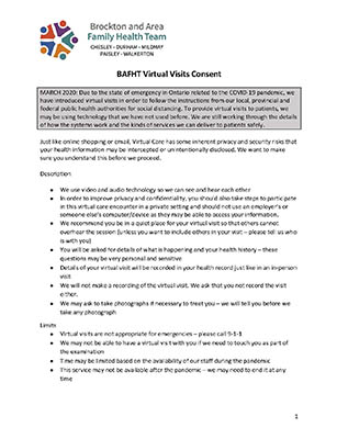 BAFHT Virtual Visits Patient Consent Form